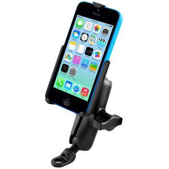 RAM Mounts držák na iPhone 5C s úchytem na motorku na řídítka na nohu zpětného zrcátka Ø9mm, sestava RAM-B-180-AP16U