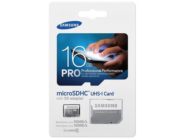 obsah balení Samsung micro SDHC 16GB Class 10 UHS-I Pro paměťová karta + SD adaptér