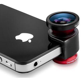 Olloclip - 4 v 1 sada objektivů pro iPhone 5/5S, červená / černá