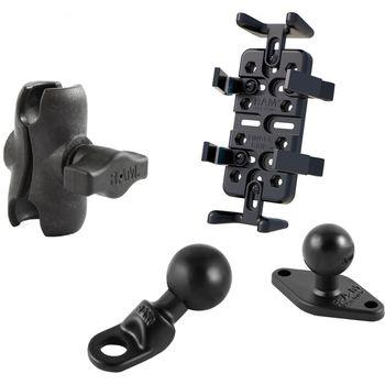 RAM Mounts univerzální držák na mobilní telefony, vysílačky, GPS navigace Finger-Grip s krátkým ramenem na motorku na zpětné zrcátko s Ø do 9 mm, sestava RAM-B-180-UN4-AU