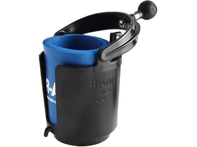 obsah balení RAM Mounts držák kelímku nebo lahve s objímkou na řídítka kola nebo motoroky nebo trubku o Ø 12,7-25,4 mm, RAM-B-132RU