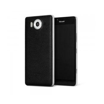 Mozo kožený kryt pro bezdrátové nabíjení pro Lumia 950, černý