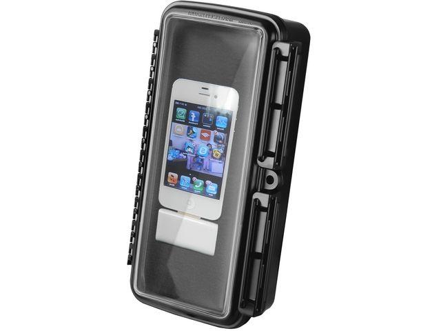 obsah balení RAM Mounts vodotěsný držák na mobilní telefon na motorku nebo kolo na řídítka, AQUABOX™ velký, Ø objímky 12,7-31,75 a 40-80 mm, sestava RAM-B-149Z-2-AQ1