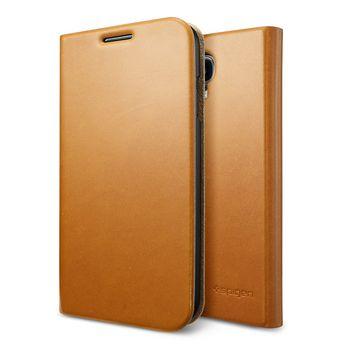 Spigen flipové kožené pouzdro Slim Wallet S pro Galaxy S4, světle hnědá