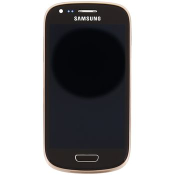 Náhradní díl LCD displej s dotyk vrstvou + přední kryt pro Samsung i8200 Galaxy S III Mini VE, hnědá