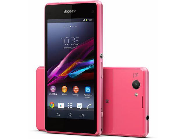 obsah balení Sony Xperia Z1 compact, růžová + červený bezdrátový stereo reproduktor