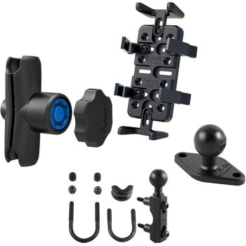 RAM Mounts univerzální držák na mobilní telefony, vysílačky, GPS navigace Finger-Grip s ramenem se zabezpečením a s úchytem na motorku na objímku brzd./spojk. páky nebo řídítka, sestava RAM-B-174-UN4-KNOB3U