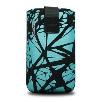 Fixed pouzdro Velvet s motivem Blue Cracks, velikost L, modrá