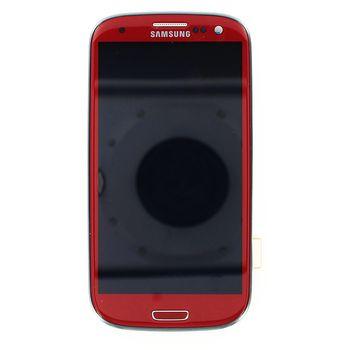 Náhradní díl LCD displej + dotyk + přední kryt pro Samsung i9300 Galaxy S III, červený