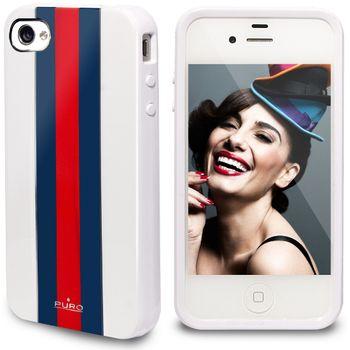 """PURO pouzdro TPU Cover iPhone 4/4S """"RED LINE"""" - modrá/červená/bílá"""
